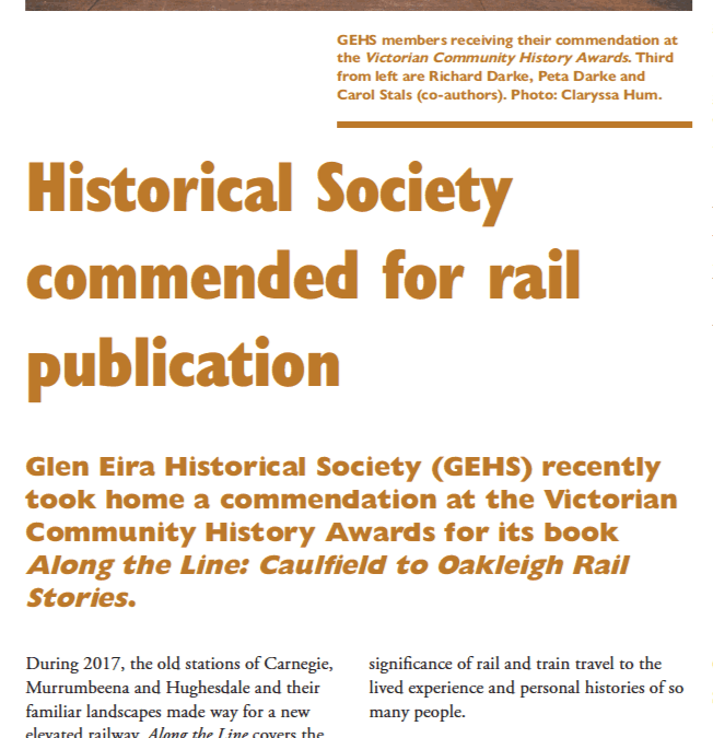 Historical Society commended for rail publication